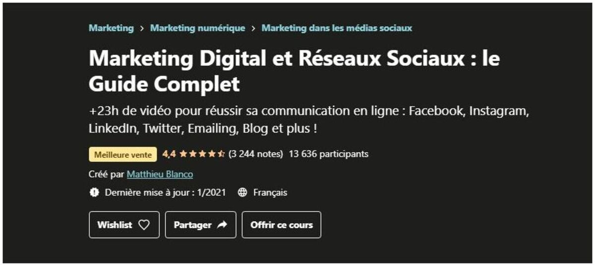 formation marketing numérique