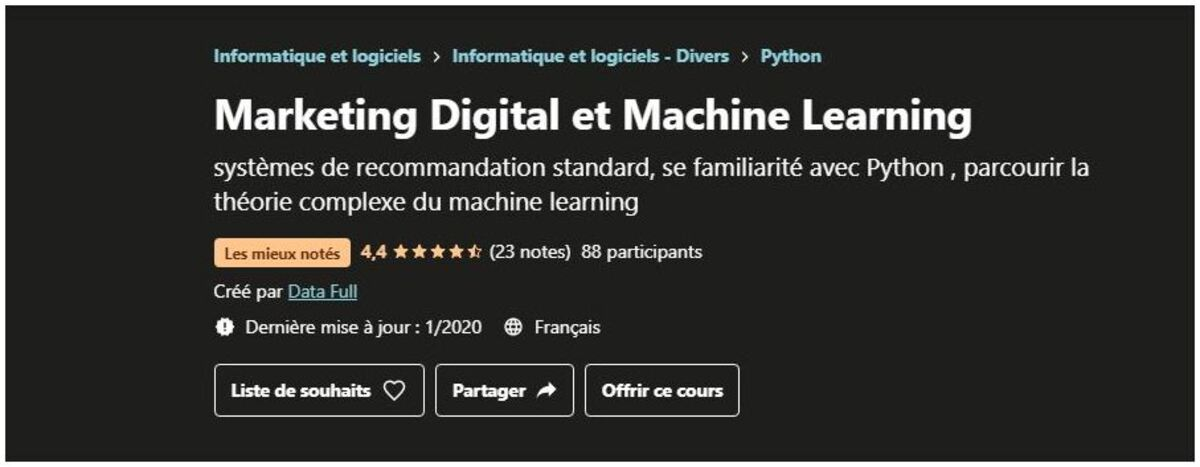formation en marketing digital et machine learning